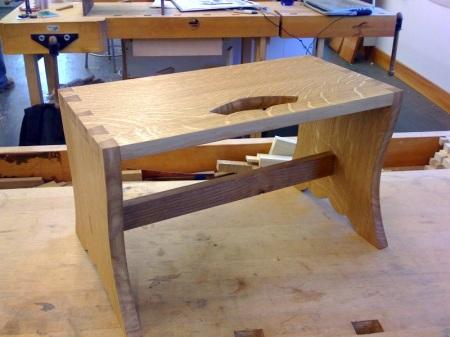 quarter sawn white oak footstool